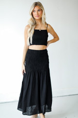 Model wearing a Smocked Maxi Skirt