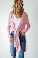 Ribbed Lightweight Cardigan Front View