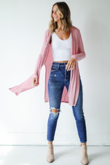 Model wearing a Ribbed Lightweight Cardigan