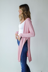 Ribbed Lightweight Cardigan Side View