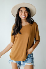 Camel - Model wearing an Everyday Tee