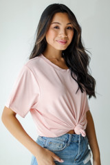 Blush - Dress Up model wearing an Everyday Tee with denim shorts