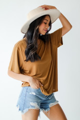 Everyday Tee in Camel Side View