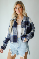 Navy - Cropped Shacket from Dress Up