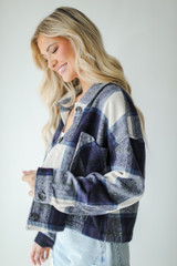 Cropped Shacket in Navy Side View