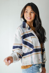 Cropped Shacket in Light Pink Side View