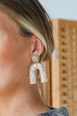 Gold - Hammered Statement Drop Earrings