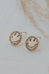 Gold - Rhinestone Smiley Face Stud Earrings from Dress Up