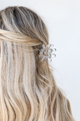Clear - Model wearing a Flower Claw Hair Clip
