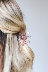 Close Up of a Flower Claw Hair Clip in Pink