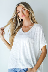 White - Knit Pocket Tee Front View