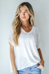 White - Knit Pocket Tee Front View on model