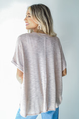 Knit Pocket Tee in Blush Back View