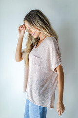 Knit Pocket Tee in Blush Side View