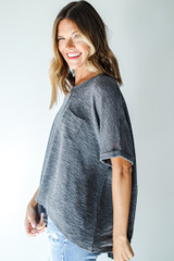 Knit Pocket Tee in Grey Side View