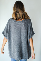 Knit Pocket Tee in Grey Back View