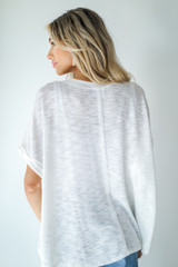 Knit Pocket Tee in White Back View