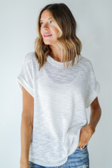 White - Knit Tee Front View