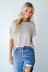 Knit Tee in Blush Front View