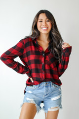 Red - Dress Up model wearing a Flannel