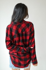 Flannel in Red Back View