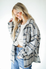 Grey - Plaid Shacket from Dress Up