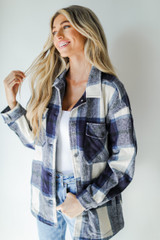 Plaid Shacket in Navy Front View