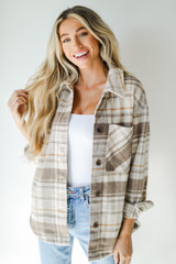 Brown - Model wearing a Plaid Shacket
