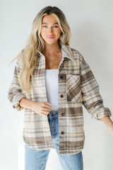 Brown - Dress Up model wearing a Plaid Shacket