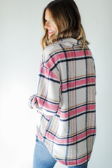 Plaid Shacket in Pink Back View