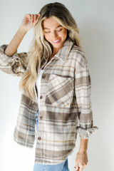 Plaid Shacket in Brown Side View