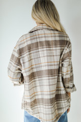 Plaid Shacket in Brown Back View