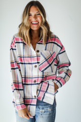 Plaid Shacket in Pink Front View