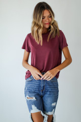 Wine - Model wearing an Everyday Tee with jeans