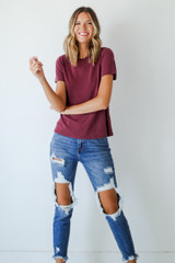 Wine - Dress Up model wearing an Everyday Tee with jeans