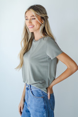 Everyday Tee in Olive Side View