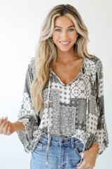 Grey - Bell Sleeve Blouse from Dress Up