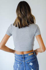 Wrap Top in Heather Grey Back View