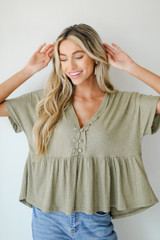 Olive - Ribbed Babydoll Top from Dress Up