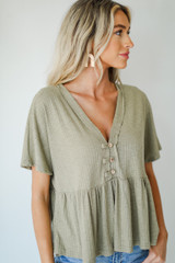 Ribbed Babydoll Top Front View