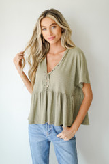 Model wearing a Ribbed Babydoll Top