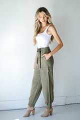 Linen Pants in Olive Side View