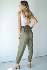 Linen Pants in Olive Back View