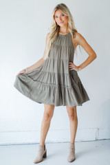 Model wearing a Tiered Dress with booties