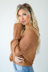Surplice Sweater Top in Camel Side View