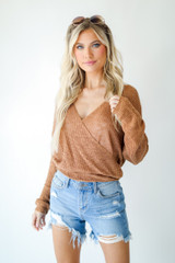 Surplice Sweater Top in Camel Front View