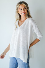 White - Oversized Knit Tee from Dress Up