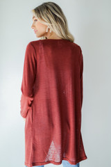 Cardigan in Wine Back View