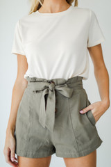 Olive - Paperbag Waist Shorts from Dress Up