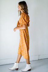 Floral Midi Dress in Mustard Side View